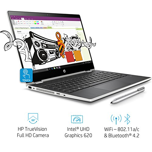 HP Pavilion x360 14-cd0077TU 2018 14-inch Laptop (8th Gen Intel Core i3-8130U/1TB/Windows 10 Home/Integrated Graphics), Natural Silver