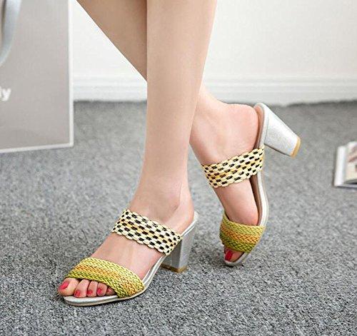 nouvelle mode taille plus ouvert orteils femmes à haut talon imperméables chaussures sandales,jaune,8