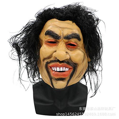QJKai Gesichtsmaske Halloween Madman 乞丐 männlich Lange Haare Smiley Maske Perücke Horror lustige Party Maske