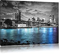 New York Skyline am Abend schwarz/weiß Format: 80x60 auf Leinwand, XXL riesige Bilder fertig gerahmt mit Keilrahmen, Kunstdruck auf Wandbild mit Rahmen, günstiger als Gemälde oder Ölbild, kein Poster oder Plakat