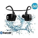 i360 Bluetooth 8GB Reproductor de MP3 a prueba de agua Auriculares Auriculares Auriculares (Edición negra) Escuche su música mientras nada / corre / entrena / gimnasio ¡Prepárese sin cable!
