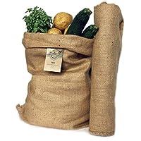 Sacos Grandes de Yute 100% Natural - Pack 2 Bolsas Ecológicas. Ideal para Cocina, Jardín y Huerto Urbano. Bolso Ecológico para Verduras, Hortalizas y Tubérculos. Organizador Rústico 65x47 cm.