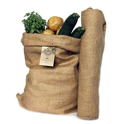 Sacchi Grandi di iuta 100% Naturale–Pack 2sacchetti Eco Sostenibile. Ideale per cucina, Giardino e Karoo urbano. Borsa ecologico per verdure, verdura e tubérculos. Organizer Rustico 65x 47cm