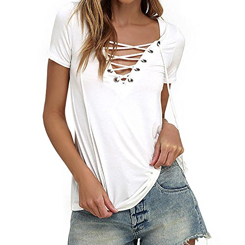 Chnli Women Short Sleeve T-shirt V Neck Bandage Shirts Soft Tops Casual Blouse Spring Summer (UK10-12, White)