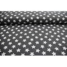 Tela infantil por metros, a partir de 25 cm, diseño de estrellas, color blanco y gris oscuro