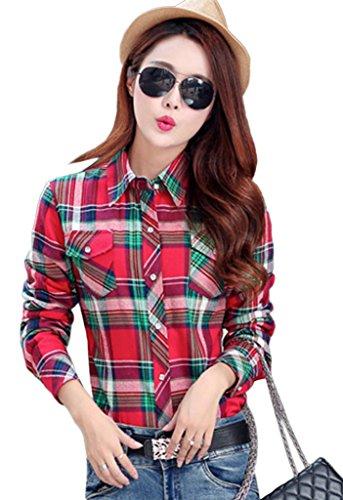 Smile YKK Chemisier Automne Femme Blouse Coton Velours Motif Carreaux Veste Hiver Chaud Rouge Vert