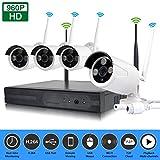 EDSSZ® Indoor / Outdoor 4 canali Wireless WIFI NVR Kit HD 960P IR Day / Night visione IP Camera P2P Sistema di sorveglianza di sicurezza CCTV EDS-WIFIKIT04-960P