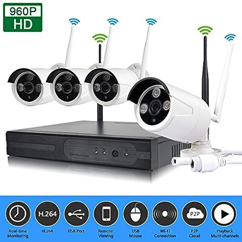 edssz en plein air 4CH wirless WiFi NVR Kit HD IR 720P Caméra IP P2P CCTV Système de Sécurité EDS-wifikit04–720p