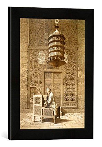 """Gerahmtes Bild von Maurice Keating """"An Imam reading the Koran in the Mosque of the Sultan, Morocco, 1817"""", Kunstdruck im hochwertigen handgefertigten Bilder-Rahmen, 30x40 cm, Schwarz matt"""