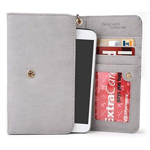 Kroo Pochette en cuir véritable téléphone portable Housse pour Asus ZenFone 2ze500cl Gris - Gris Gris - Gris