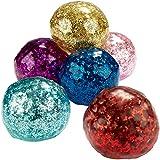 com-four 6X Anti-Stress-Ball mit Glitzer - Quetschball für Kinder und Erwachsene - Knautsch-Ball...