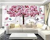 rylryl carta da parati personalizzata 3D rosa albero cerchio cigno farfalla acqua foto murale soggiorno decorazione sfondo muro dipinto-400x280cm