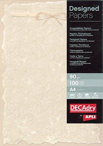 Agipa confezione da 100 fogli da stampa in formato a4, 90 g/mq, effetto pergamena, con fiocco image