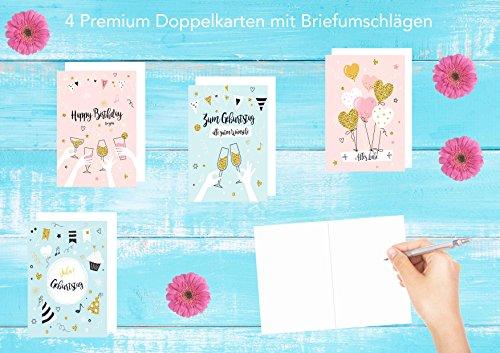 Set 4 exklusive Geburtstagskarten mit Glimmer-Veredelung und Umschlag – Glückwunschkarten zum Geburtstag – Geburtstagskarte mit Umschlag – Happy Birthday