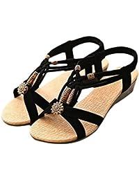 Damen Sommer Sandalen Beach Open Toe Flat Metall Schnalle Low Cut Schuhe, Rosa, 35
