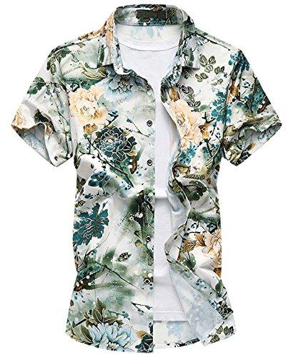 Chemise d'été manches courtes fleurs imprimées Homme TP1