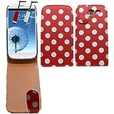 Samrick Polka Dots Étui à rabat pour Samsung i9300 Galaxy S3 et Galaxy S3 LTE 4G avecfilm protecteur d'écran, chiffon microfibre et mini stylet capacitif Rouge/blanc