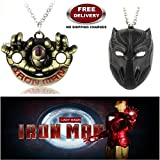 (2 Pcs AVENGER SET) - IRONMAN HANDS (GOLD) & BLACK PANTHER (BLACK) IMPORTED PENDANTS WITH CHAIN. LADY HAWK DESIGNER SERIES 2018. ❤ ALSO CHECK FOR LATEST ARRIVALS - NOW ON SALE IN AMAZON - RINGS - KEYCHAINS - NECKLACE - BRACELET & T SHIRT -