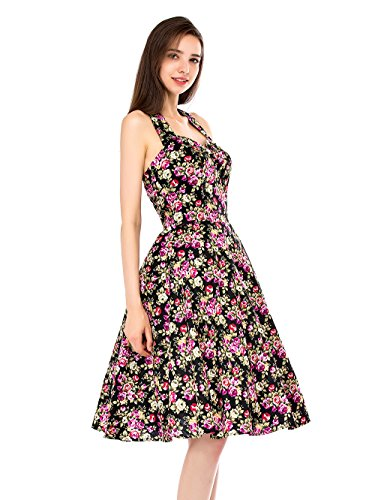 EnjoyBridal®Rétro Robe Imprimé Fleurs Style Halter Robe de Soirée/Cocktail Femme Rockabilly Swing Vintgae Année 50 Noir