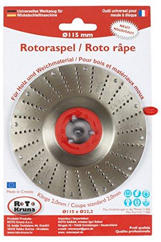 Rotoraspel Ø 115mm (Klinge 2 ; Mittel) Schleifscheibe 115x22mm für Holz,Kunststoff,Gummi