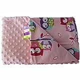 Rosa Bunt Eulen 75x100cm Minky Babydecke Kuscheldecke Krabbeldecke Decke Super weich und flauschig Handarbeit (75x100cm, Rosa Eulen)