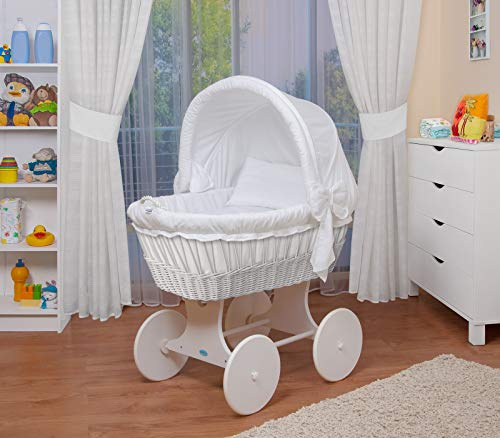 WALDIN Baby Stubenwagen-Set mit Ausstattung,XXL,Bollerwagen,komplett,26 Modelle wählbar,Gestell/Räder weiß lackiert,Stoffe weiß
