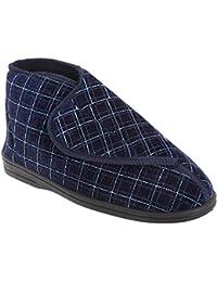 Zedzzz - Zapatillas/botas de estar casa a cuadros aterciopeladas con velcro Modelo Bertie hombre caballero