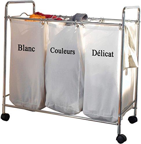 COMPACTOR Wäschesammler mit 3 Fächern, Verchromter Stahl und Polycotton, Auf Rollen, 74 x 45,5 x 75 cm, RAN2594