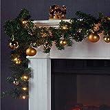 Multistore 2002 Weihnachtsgirlande Tannengirlande Lichterkette 270cm 180 Spitzen 20 Lampen 16 Kugeln - Gold