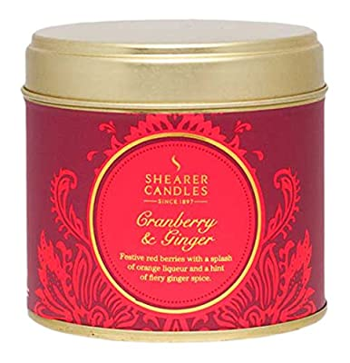Shearer Candles Cranberry and Ginger Large Scented Tin Candle, Red by Shearer Candles