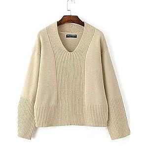 BaiChunYunYi Damen Standard Pullover-Ausgehen Lässig/Alltäglich Street Schick Solide V-Ausschnitt Langarm Baumwolle Herbst Mittel Mikro-elastisch