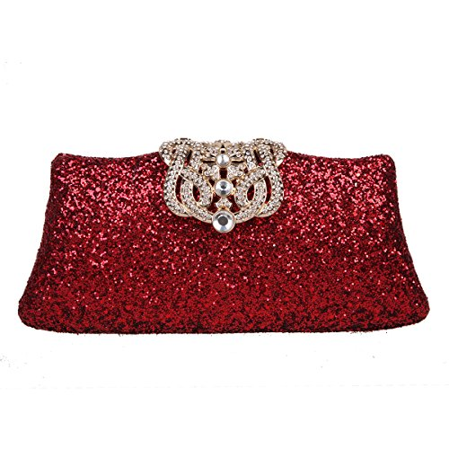 Bonjanvye Glitter Clutch Purse with Shining Crown for Girls Red Red