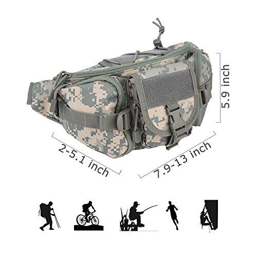 Oleader Tactical Waist Pack Militare Fanny Packs Borsa a tracolla per Borsa per attrezzi per l'arrampicata all'aperto Arrampicata Pesca Caccia Bum Bag grigio camuffamento