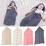 Unisex Baby Schlafsack U Sleepingbag Knit ✽ZEZKT-Baby✽Kleinkinder Baby Newborn Decke Wolle Knit Wrap Swaddle Schlaf Sack Stroller Wrap für 0-8Monate Baby (Grau)