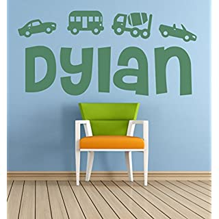 Personalised Name, Cars, Transport, Vehicles Vinyl Wall Art Sticker, Mural, Decal. Home, Wall Decor. Children's bedroom, Nursery, Playroom. ANY name personalised