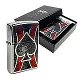 Zippo Feuerzeug Gebürstetem Chrom mit 'Ace' Logo