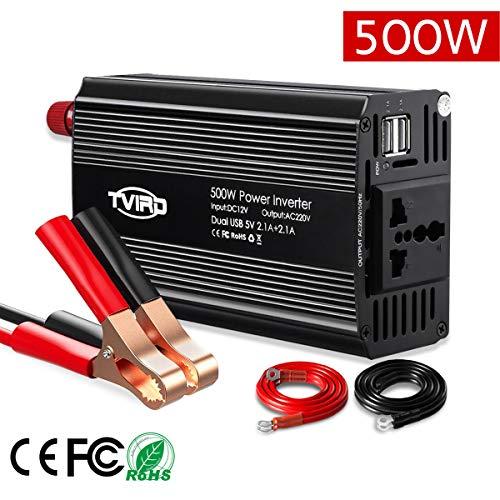 Spannung Strom Wandler (Spannungswandler 12v 230v 500W Tvird Wechselrichter 12v auf 230v, KFZ Inverter mit 2 USB Anschlüsse inkl. Universal Europa-Steckdosen Autobatterieclips für Autogerät/ iPad/ Laptop/ Kamera/ Handy)