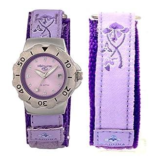Kahuna niña/para Mujer Morado/Morado de Flores metálico Esfera Reloj Correa de Velcro