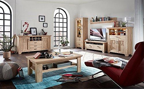 Wohnzimmerschrank, Wohnwand, Schrankwand, Anbauwand, Fernsehwand, Wohnzimmerschrankwand, Wohnschrank, Gran, Oak, Eiche, Beleuchtung - 2
