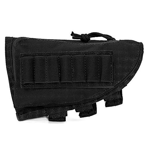 GES Fusil tactique Fusil de chasse Buttstock Support de coquille Support de pochette de poche Ammo Cartridge Stockage de porteur (Noir)