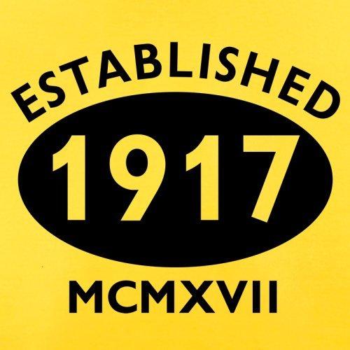 Gegründet 1917 Römische Ziffern - 100 Geburtstag - Herren T-Shirt - 13 Farben Gelb