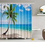 Superior Custom Sea Paradise Beach Seascape erfrischenden Palm Baum Coconut Palm Baum Duschvorhang 165,1x 182,9cm, Polyester-Mischgewebe, Strand, 65x72inch