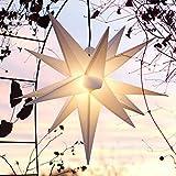 Mit LED Außenstern 65 cm weiß beleuchteter Stern Weihnachtsstern Faltstern (WEISS)