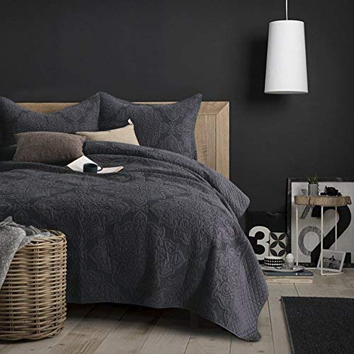 Reine Baumwolle 3-Teilig Tröster Set, Set mit Blume Stickerei Quilt, Tagesdecke Set, schwarz -