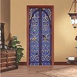 Svsnm 77X200 cm Kreative 3D Blume Bogen Tür Aufkleber Für Haus Tür Renovierung Eisentor Muster Selbstklebende Schlafzimmer Tür Renovierung Tapete