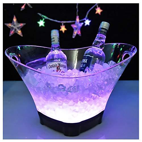 DAWNBOYE LED Eiskübel,12L Großraum Flaschenkühler,Sektkühler,Weinkühler,Getränkekühler,Kühler Led Wasserdicht mit Farbwechsel,für Party,Haus,Bar,etc,Bierfass,Große Kapazität,Aufladen