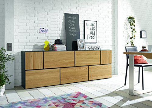 now! by hülsta to go, Wohnkombination Wohnwand Sideboard, Farbe weiß, 7er Bundle, Made in Germany