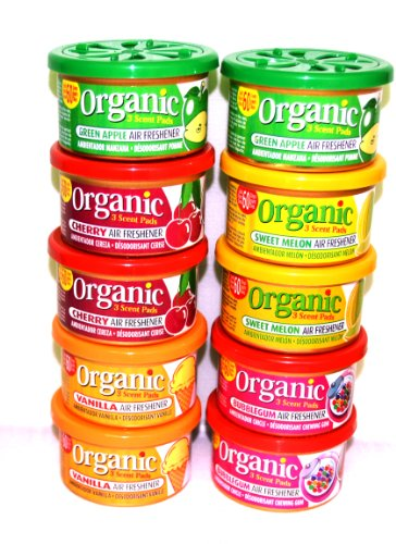 10 Stück Organic Scents for Cars Duftdose TESTPAKET je 2 Stück in den Duftsorten Cherry, Bubble Gum, Sweet Melone, Green Apple und Vanilla