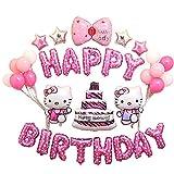Smart J Geburtstag Party Dekorationen, Happy Birthday Buchstaben Banner Fahnen, Folie Ballons für Geburtstag, Hochzeit, Baby Dusche, Parteien, Hauptdekorationen, Partei Dekorationen - Hello Kitty