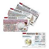 Set - alle Münzkarten (ohne Münze) Monaco für 2-Euro Gedenkmünzen, 3 Münzkarten
